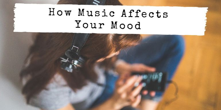 "Girl with headphones on with title ""How Music Affects Your Mood"""
