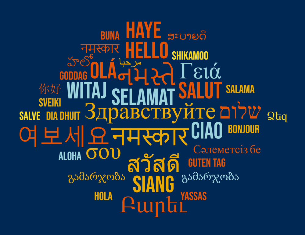 word cloud of hello in many languages