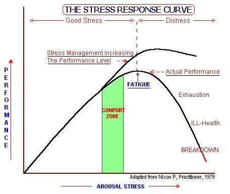 Bell curve of Stress Response; depicts that a little stress can be helpful in productivity to a point, and then too much stress impacts productivity
