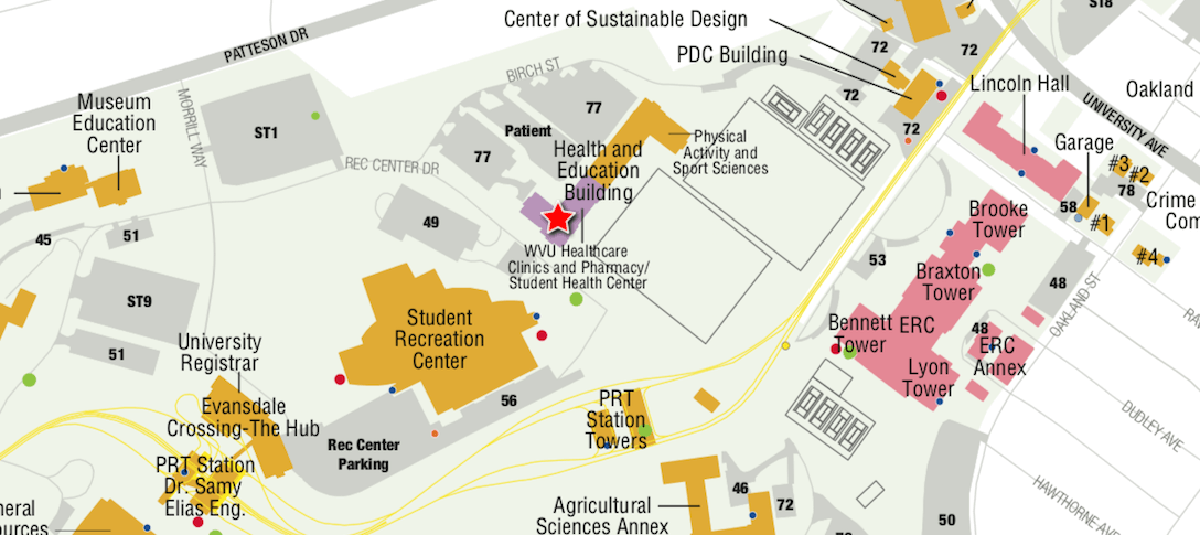 Map showing Carruth Center location