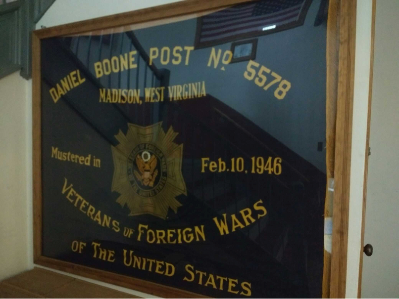 A Daniel Boone VFW Post 5578, Madison, West Virginia, banner showing a founding date of February 10, 1946.