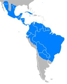 map showing range of javelina throughout most of Cuba, Central America and northern and central South America