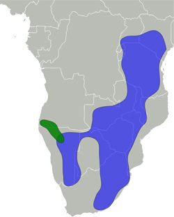 map showing range of impala mostly in the south eastern coast area of Africa