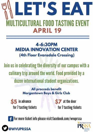 Let's Eat Multicultural Food Tasting Event, April 19. 4-6:30, Media Innovation Center (4th Floor Evansdale Crossing)