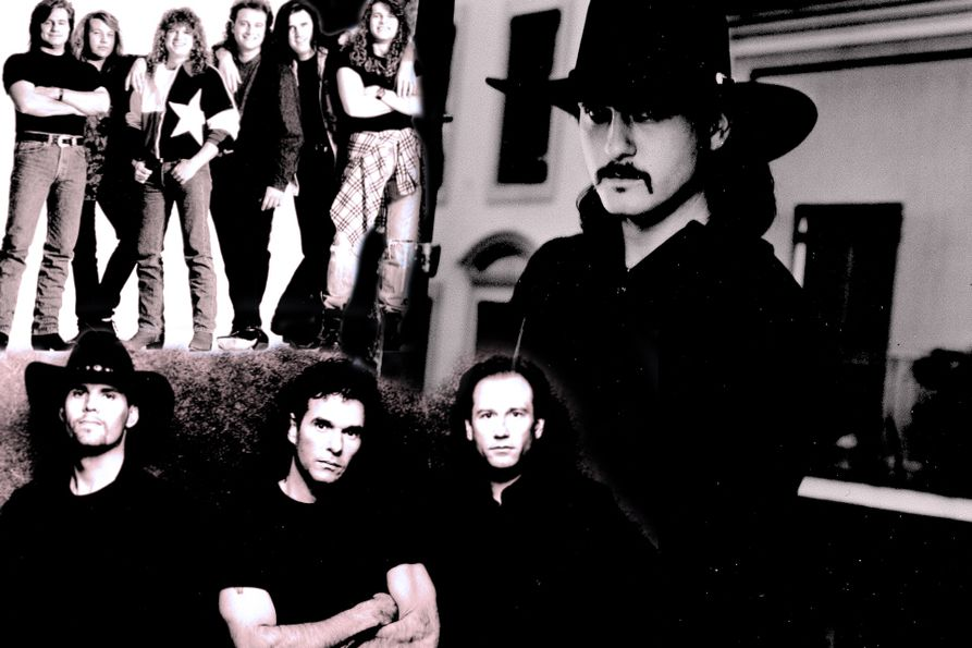 Black and white photo collage with Little Texas, Tim McGraw and Blackhawk circa 1995