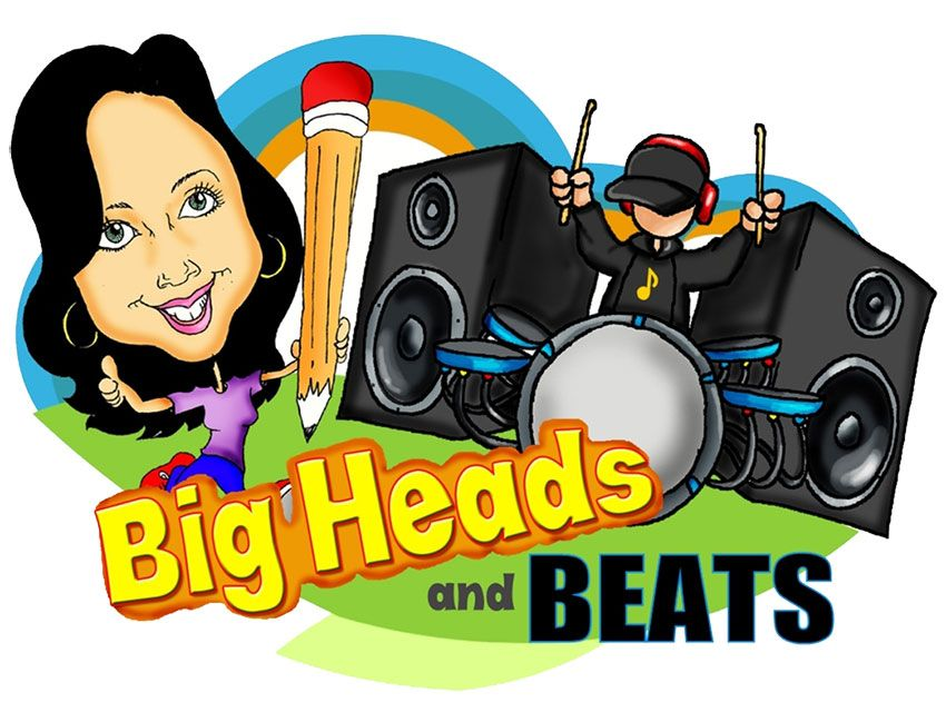 Big Heads and Beats. Caricature drawing and boom box