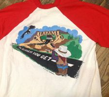 Photo of vintage 1983 Alabama tour t-shirt with tour title