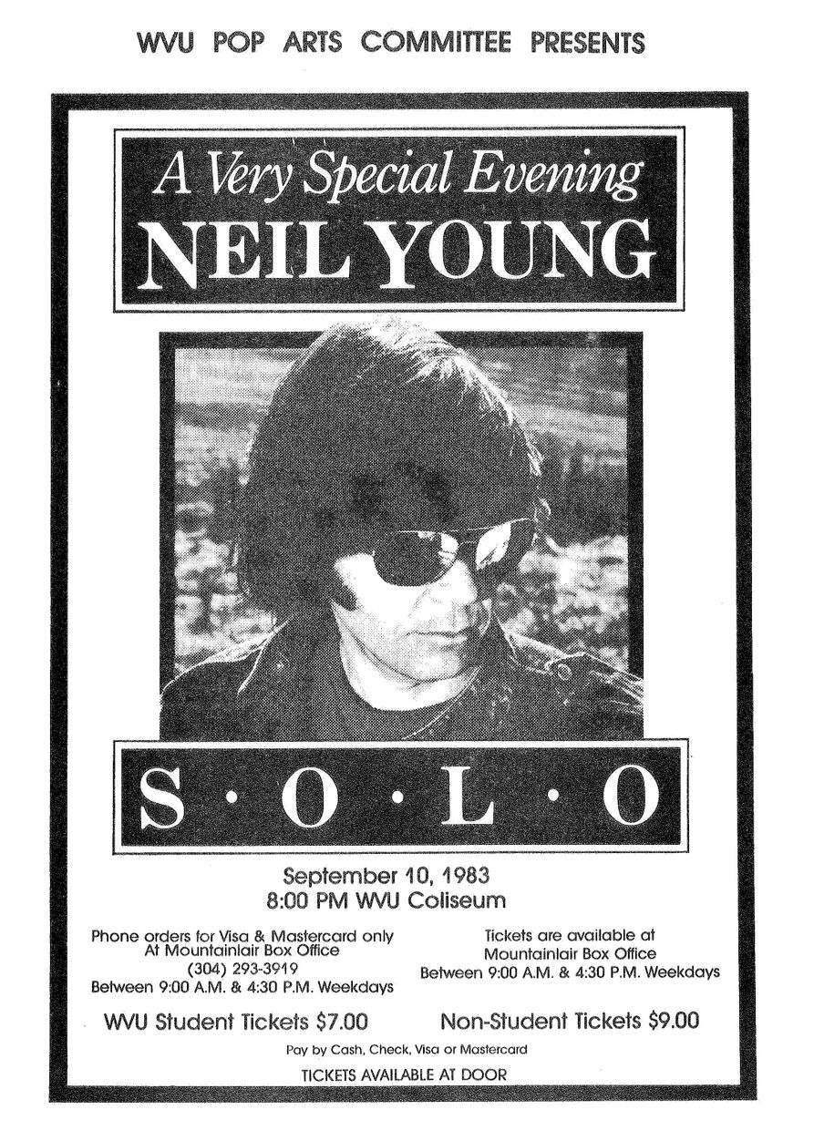 Concert poster from Neil Young's 1983 concert at the WVU Coliseum