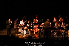 Wycliffe Gordon performing with the WVU Big Band on stage at the WVU Creative Arts Center. Photo by Logan McMasters.