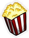 Red and white bag of popcorn