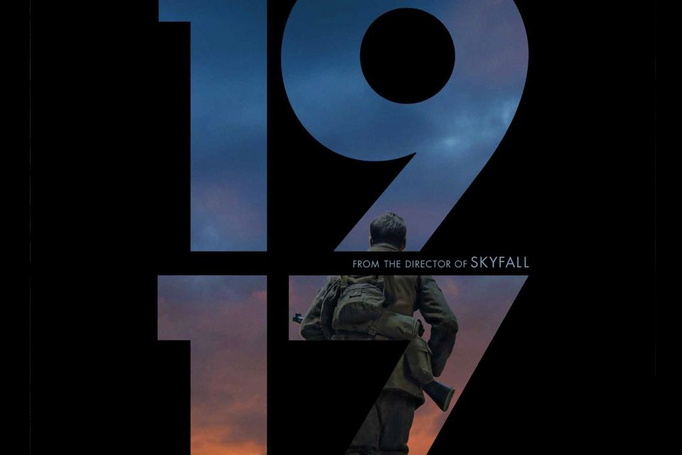 "Movie poster for film ""1917) with numeral 1 9 1 7 showing a sunset and soldiers in combat gear."