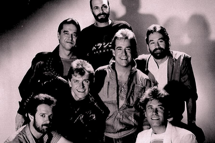 Members of the band Chicago circa 1985