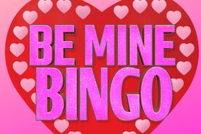 Be Mine Bingo with a red heart in the background