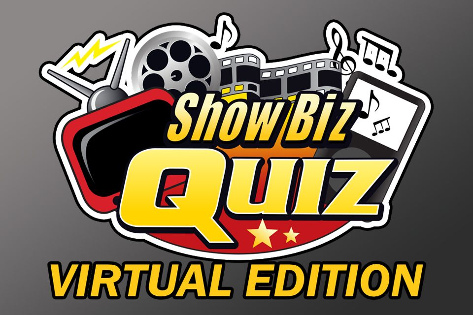 Show Biz Quiz Virtual Edition with movie reel in the background