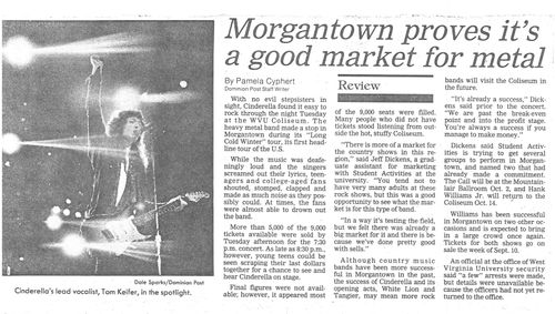 Morgantown proves it's a good market for metal. Review that appeared in the Dominion Post August 30, 1989
