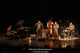 Wycliffe Gordon and His International All Stars performing on stage at the WVU Creative Arts Center. Photo by Logan McMasters.