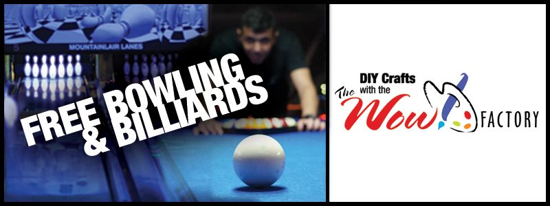 FREE Bowling & Billiards, DIY Crafts with the WOW! Factory