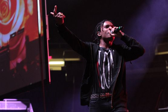 Photo of ASAP Rocky performing on stage at the WVU Coliseum