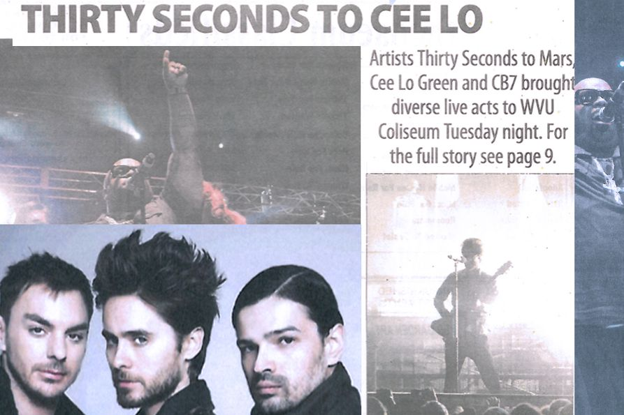 Thirty Seconds to Cee Lo. Photos from the 2011 concert. Top left: Cee Lo Green. Bottom Left: Thirty Seconds to Mars.