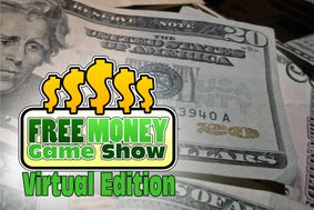 Free Money Game Show Virtual Edition with cash in the background