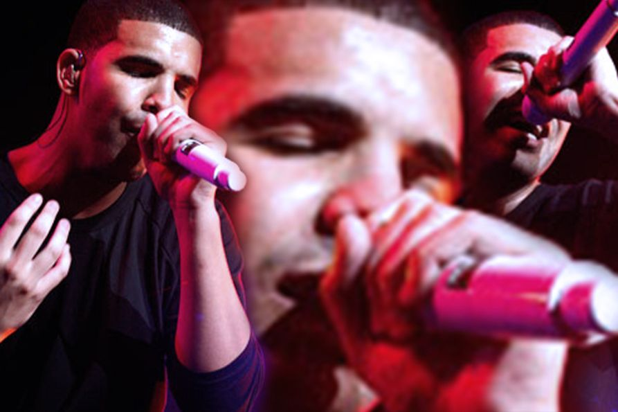 Photo collage showing three closeup pictures of Drake singing during his 2010 concert