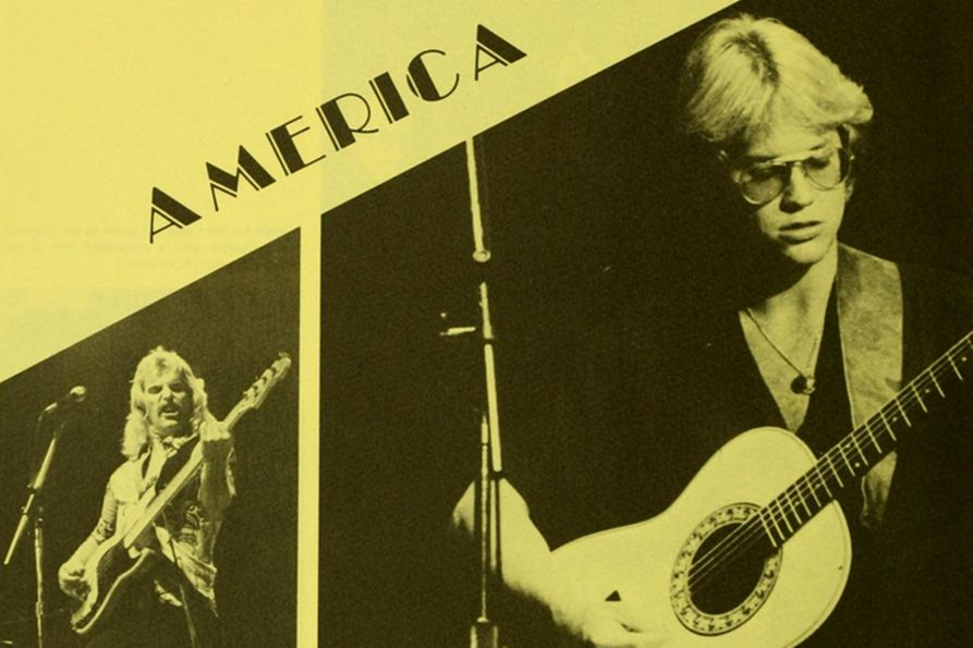 Photo collage of America members on stage. Photo from The Monticola.