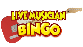 "Guitar with text ""Live Musician Bingo"""