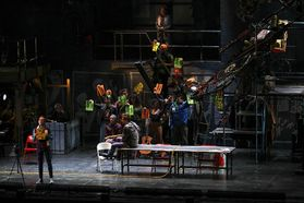 The cast of RENT performs at the WVU Creative Arts Center. Photo by Julia Hillman.