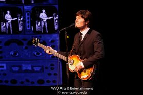 RAIN: A Tribute to the Beatles performing at the WVU Creative Arts Center. Photo by Logan McMasters.