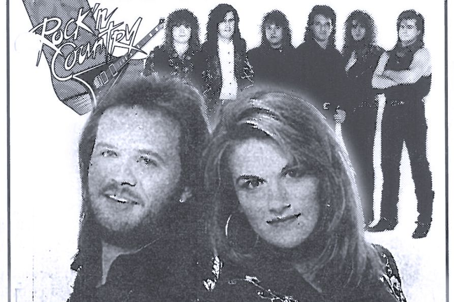 Photo collage. Travis Tritt and Trisha Yearwood in the foreground. Little Texas in the background.