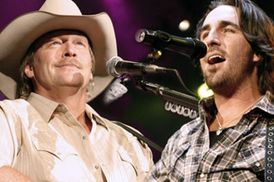 Collage of photos from 2009 concert. Alan Jackson on the left and Jake Owen on the right.
