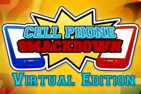 Cell Phone Smackdown Virtual Edition with a blue cell phone and a red cell phone drawing on a yellow background.