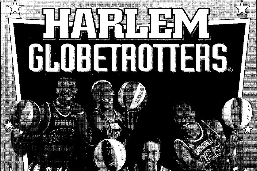The Harlem Globetrotters photo from a newspaper ad in 1995.
