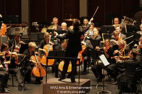 The Pittsburgh Symphony Orchestra performing at the WVU Creative Arts Center. Photo by Logan McMasters.