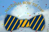 National Bow Tie Day with blue and gold striped bow tie and confetti