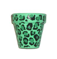 flower pot with green leopard design