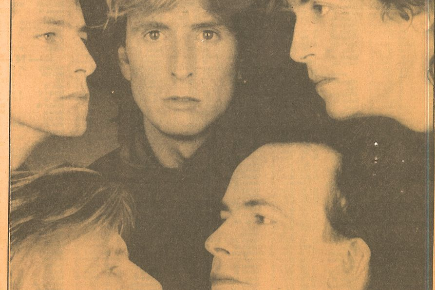Publicity photo of the members of The Mood Blues from 1986