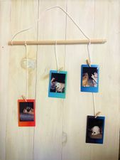 DIY hanging photo holder with 4 pictures on colorful backgrounds.