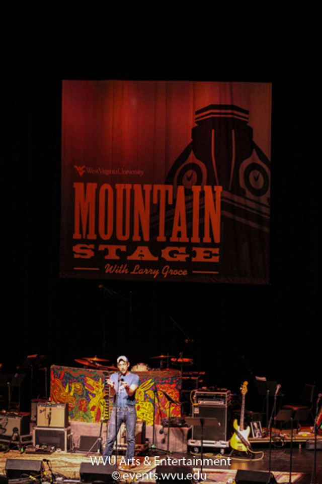 Bil Lepp performs on Mountain Stage. Photo by Logan McMasters.