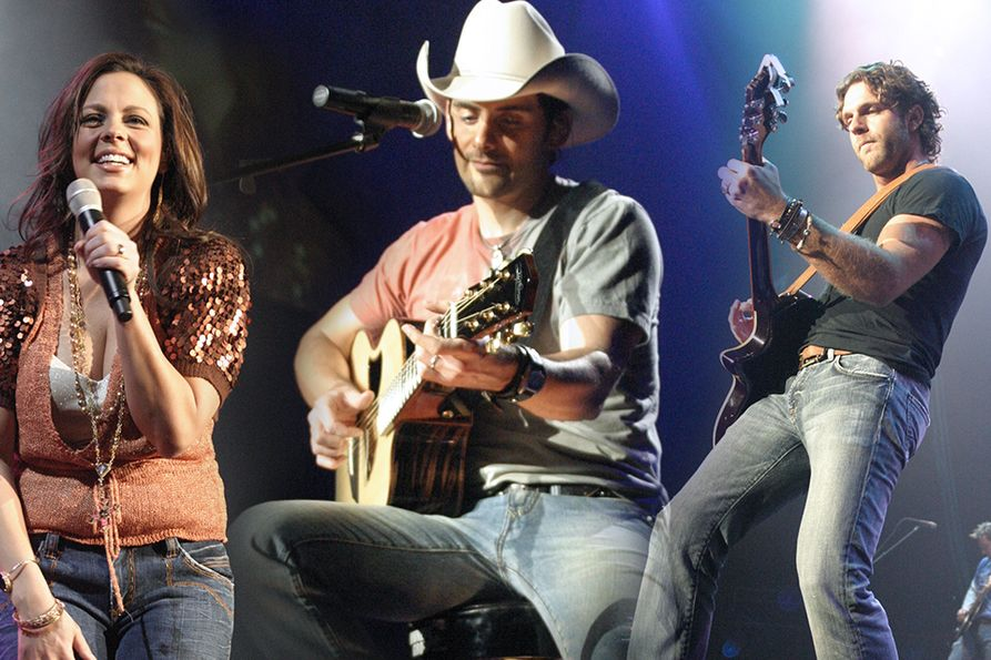 Photo collage. Left to right: Sara Evans, Brad Paisley, Billy Currington all on stage at the Coliseum in 2006