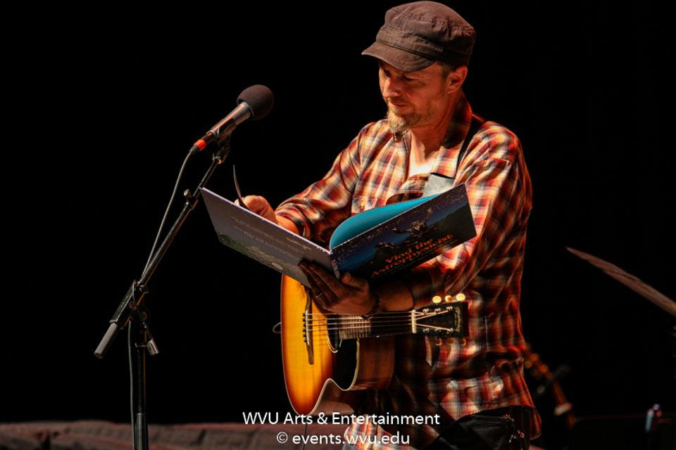 Peter Mulvey performing at the WVU Creative Arts Center. Photo by Logan McMasters.