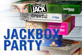 Jackbox Party with a stack of board games in the background