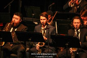 The WVU Big Band performing on stage at the WVU Creative Arts Center. Photo by Logan McMasters.