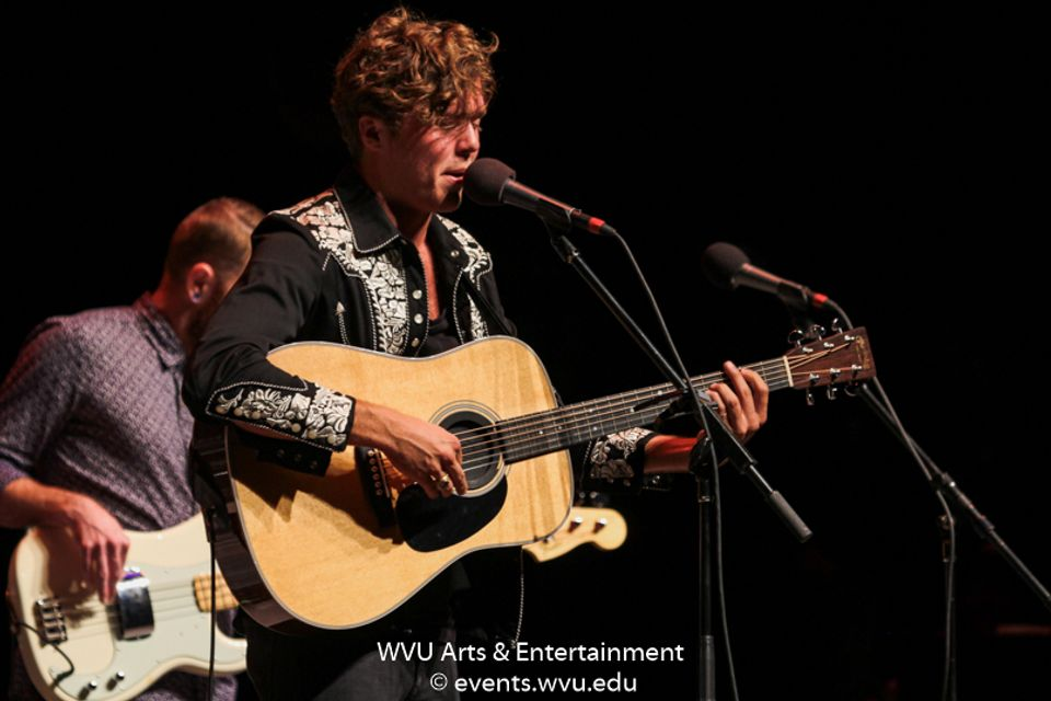 Christian Lopez performing at the WVU Creative Arts Center. Photo by Logan McMasters.
