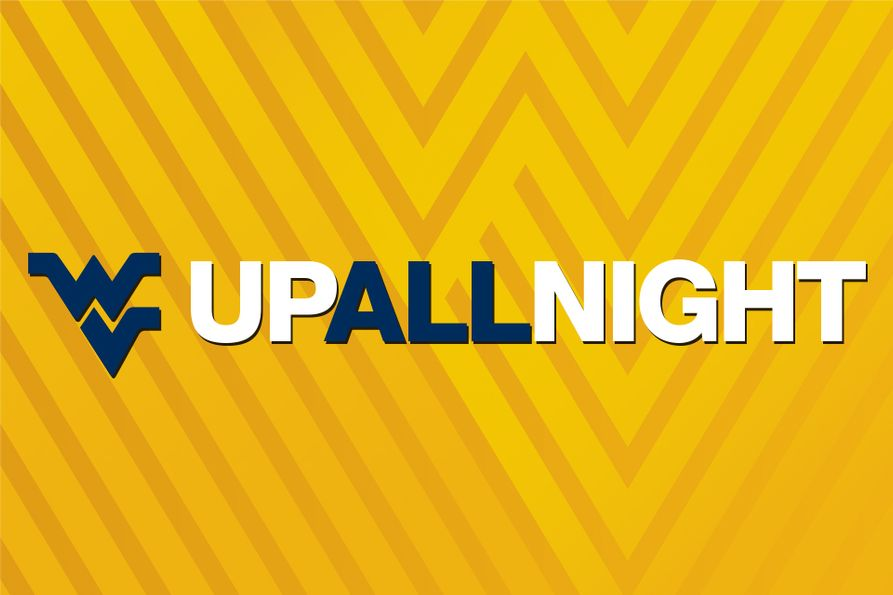 WVUp All Night wordmark on a gold background