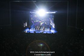Members of Straight No Chaser performing at the WVU Creative Arts Center. Photo by Logan McMasters.