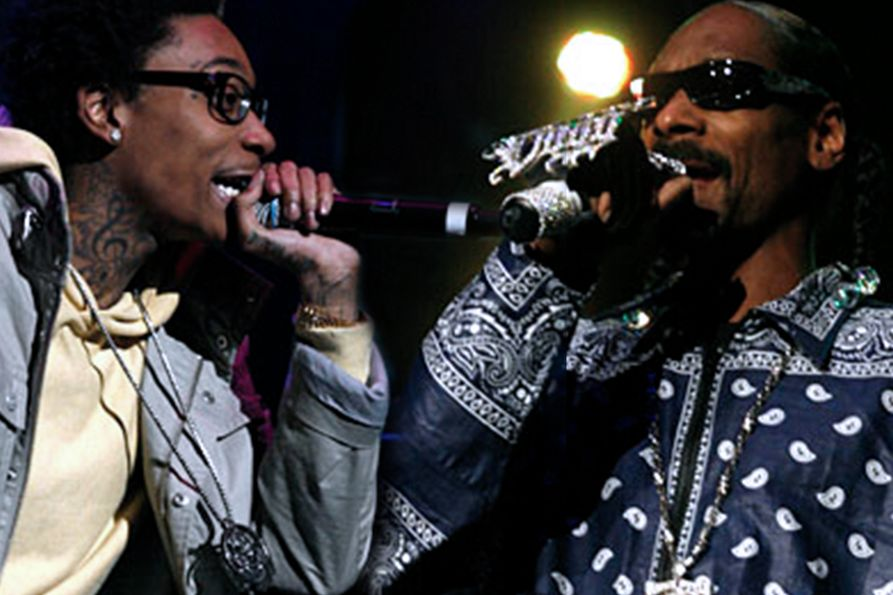 From left to right: Wiz Khalifa and Snoop Dogg in their 2011 performance at the WVU Coliseum.