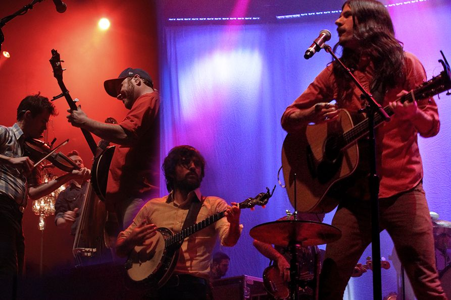 The Avett Brothers on stage at the Coliseum in 2014
