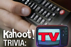 "Hand holding a TV remote with the text ""Kahoot! Trivia TV"""