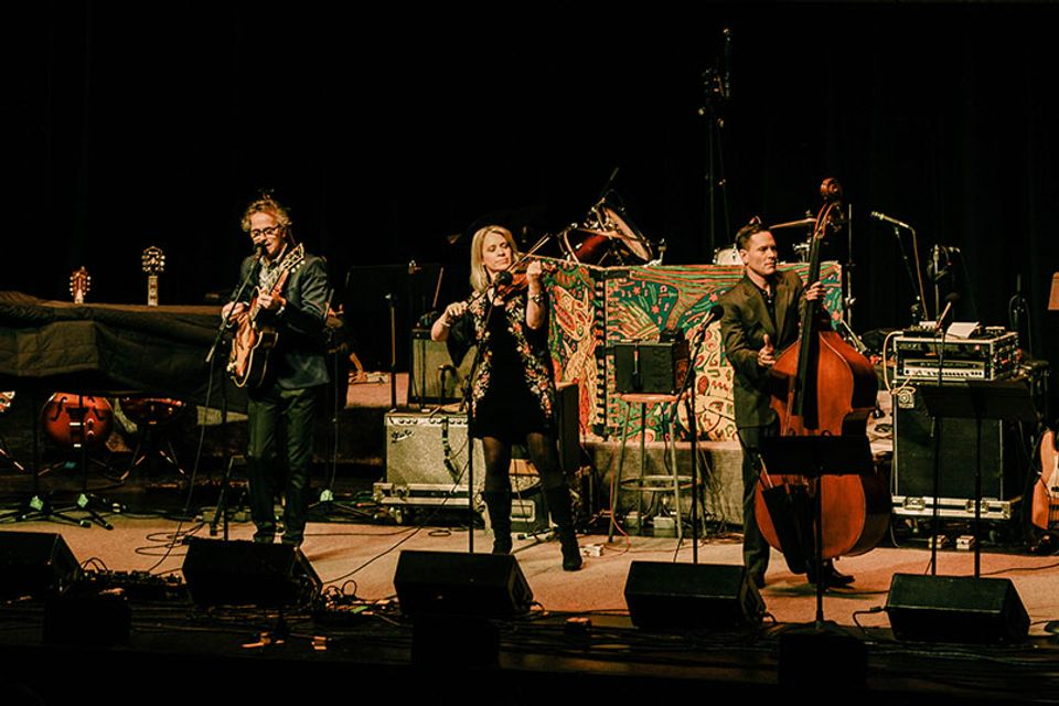 Hot Club of Cowtown preform at the WVU Creative Arts Center. Photo by Julia Hillman.